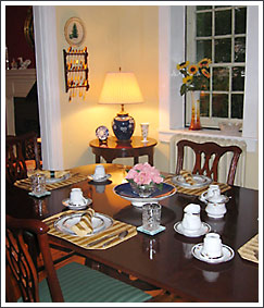 A table prepared for a delicous breakfast at the Georgian House Bed and Breakfast.